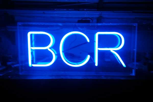 Neon sign for Blackrock College Radio