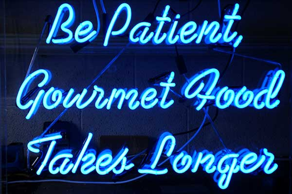 Neon sign for gourmet restuarant